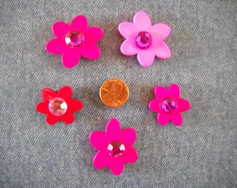 Pink & Red Groovy Flower Magnets with Jewels
