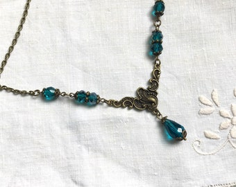 Teal blue necklace brass teal necklace
