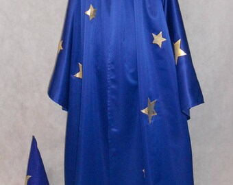 Wizards Costume - Adult Deluxe - Wizards Cloak and Hat - Warlock - Merlin - Renaissance Wizard - Magic Cloak - 2 pc Set