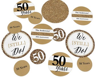 50th Wedding Anniversary - Giant Circle Confetti - Anniversary Party Decorations - We Still Do - 50th Anniversary Large Confetti - 27 Count