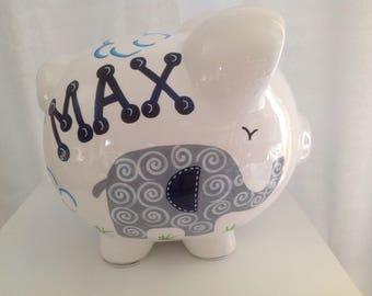 Personalized Large Elephant piggy Bank Navy Blue / Grey- 1st Birthday, Newborn, Baby Shower,Flower Girl, Ring Bearer,Christening Gift