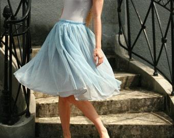 Light blue tulle midi skirt with grey viscose underskirt braidsmaids,formal,everyday