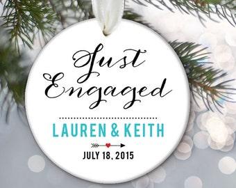 Personalized Engagement Ornament, Engagement Gift,Ceramic Ornament, Dated Ornament, just engaged, Personalized Christmas Ornament OR548