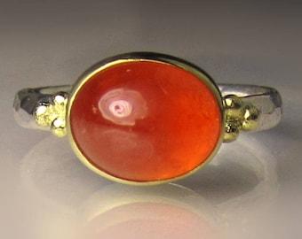 Spessartite Garnet Ring, 18k Gold and Sterling Silver Granulated Ring, Spessartine Cabochon Ring