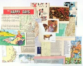 Vintage Paper Pack, Ephemera, Junk Journal Kit, Collage Supplies, Scrapbooking Embellishments, Smash Book, Remnants, Creative Inspiration