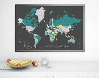 Teal world map etsy personalized world map print anniversary gift for him travel lover gift couples personalized gift teal world map teal gray map140 011 gumiabroncs Choice Image