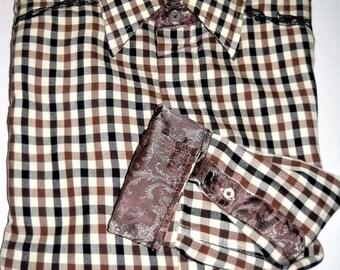 English Laundry Shirt Flip Cuffs Long Sleeve Cotton Blend Brown Black Size Large