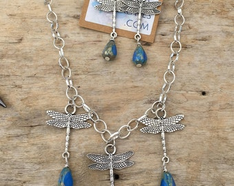 Silver Dragonfly Necklace and Earring Set