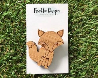 Laser Cut Bamboo Fox Brooch