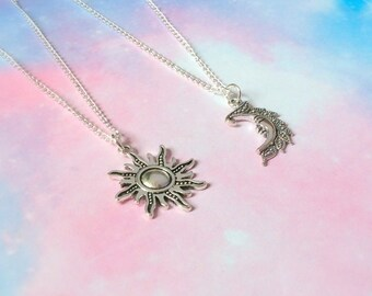 Sun and Moon Necklaces, BFF necklace, best friends necklace gift bestie necklace, astrology necklace astronomy , jewelry jewellery set