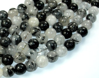 Black Rutilated Quartz Beads, 10mm Round Beads, 15.5 Inch, Full strand, Approx 38-40 beads, Hole 1mm (143054006)