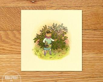 Fox Picking Berries - Mini Fine Art Print