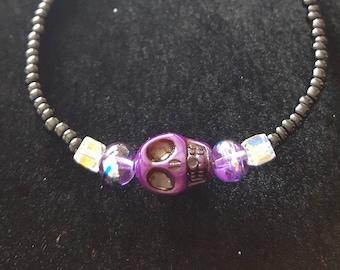 Purple Skull Beaded Bracelet
