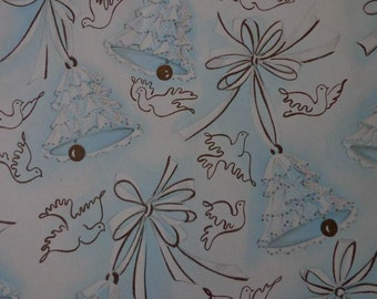 Vintage 1960s Wedding Gift Wrapping Paper--One Sheet--Blue Bells and Doves