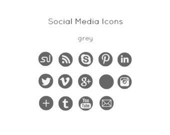 Grey Social Media Icons - Instant Download