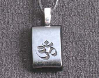 OM Buddhist Mantra fused glass necklace, Om, Aum Meditation Necklace, fused glass necklace, CH252