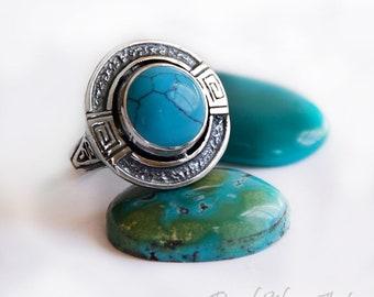 Sterling silver ring/ Silver stone ring/ Ring turquoise/ Turquoise ring/ Silver stone ring/ December Birthstone Rings/ Blue gemstone ring