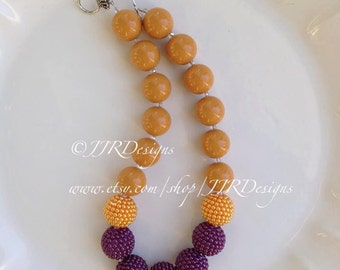 Mustard and Plum Necklace- Fall Chunky Necklace- Bubble Gum Necklace- Mustard Necklace- Plum Necklace- Plum and Mustard Necklace