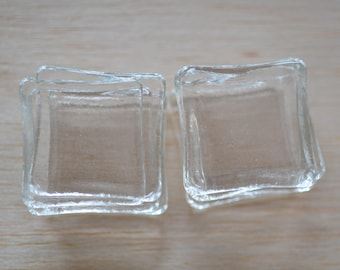 10 pack 1.2 x 1.2 Inch / 3 x 3 cm  Clear Glass Squares, Pendant glass tiles, Glass tiles for jewellery