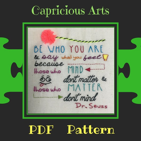 Be Who You Are PDF Pattern, Download, Wise, Whimsical, Patterns, Embroidery, Hand Embroidery, Thread Art, Embroidery Hoop, Wall Art