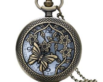 x 1 watch quartz round motif Butterfly/flower + chain bronze 78 cm (battery included)