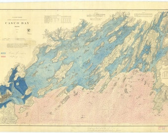 Casco Bay Maine Map 1870