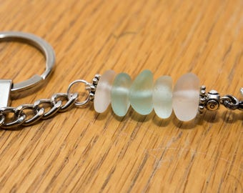 Seaham sea glass charm keyring