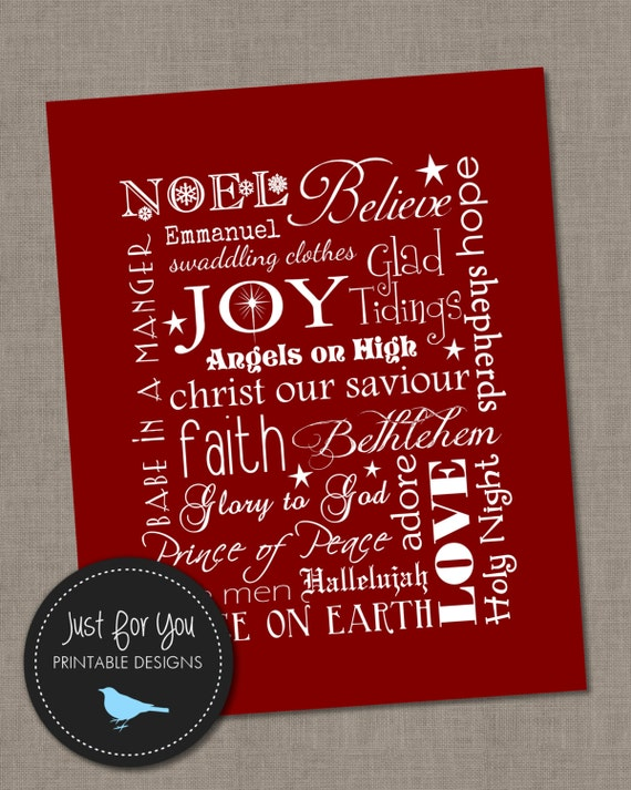Superb Christmas Wall Art Part - 14: Christmas Wall Art Typography Subway Art Red 16x20 YOU