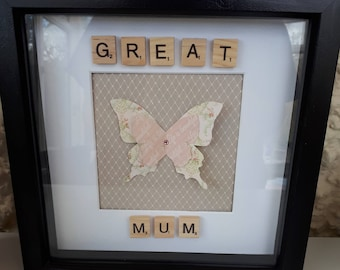 Mother's Butterfly scrabble frame