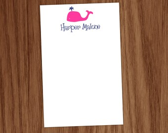 Preppy Whale Notepad Note Memo Pad  - Great Personalized gift for Girls Teens Moms Teachers - Personal Preppy Stationary Stationery