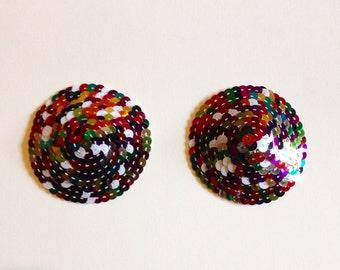 Multi rainbow harlequin classic burlesque nipple pasties