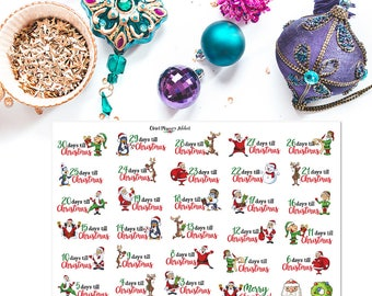 Cute Christmas Countdown Planner Stickers | Christmas Stickers | Christmas Countdown | Countdown Stickers (S-290)