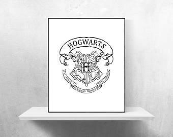 Hogwarts Crest Minimalist Poster | Harry Potter Poster JK Rowling Dumbledore Hermione Gryffindor Slytherin Ravenclaw Hufflepuff Movie Poster