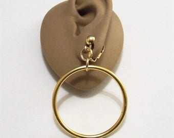 Ring Hoops Clip On Earrings Gold Tone Vintage Large Open Dangle Door Knocker Style Lightweight Round Bead Dangles