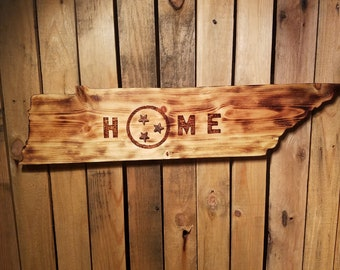 """Wood Burned State - Tennessee - """"Home"""""""