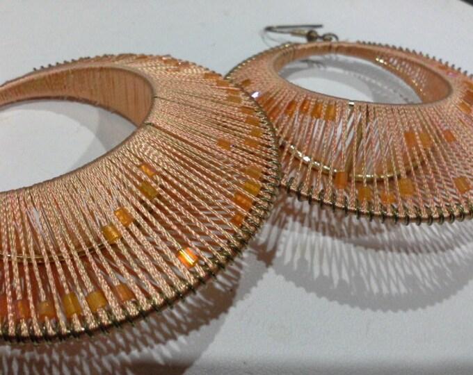 HUGE Orange Mod Retro Hooped Earrings Bead Woven on Brass Fabulous