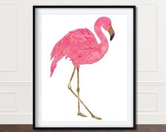 Flamingo Print Art, Flamingo Watercolor Painting, Tropical Prints, Flamingo Poster, Flamingo Wall Print, Flamingo Wall Art, Flamingos Print