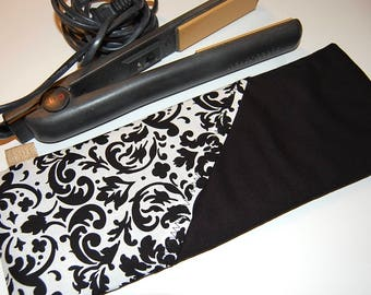 Flat Iron Case, Curling Iron Holder, Flat iron Holder, Curling Iron Case, Curling Iron Cover, Curling iron Travel Bag, Travel Pouch, Black