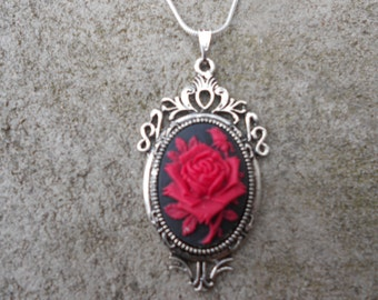 "Stunning Red Rose Cameo Pendant Necklace---.925 plated 22"" Chain--- Great Quality"