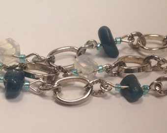 Handmade Genuine Blue Opal and White Opal Linked Beaded 3 strand Bracelet opal bracelet genuine opal bracelet 3 strand gemstone bracelet
