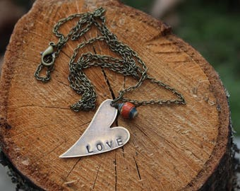 Brass Hand Stamped LOVE Necklace with Ugandan Paper Bead Adoption Fundraiser