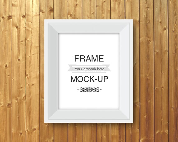 White frame mockup, digital frame, wood background, 8 x 10 inch, 16 ...