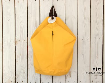 Cotton Backpack, Yellow Backpack, Canvas Backpack Purse, Weekend Bag, Mochila de Verano, Summer Backpack, Handmade Rucksack