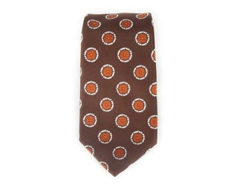 "Vintage Necktie / 3.5"" Dacron Polyester Tie / Brown and Orange Necktie / Mens Tie / Mens Neckties / Guys Necktie Gifts for Guys"