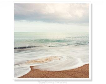 Beach Wall Art, Christmas Gift Idea for Wife, Beach House Decor, Photo Gift, Seascape, Blush Pink, Coastal Wall Art, Beach Photography