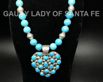 Turquoise Heart and Necklace with Sterling Trim