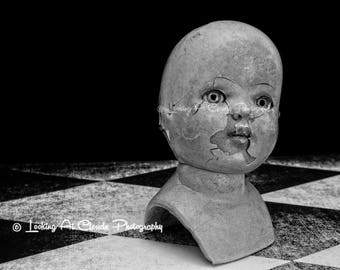 decapitated darling, dreadful dolly, creepy doll art photo, ghostly spooky macabre doll, nightmare art, freak show