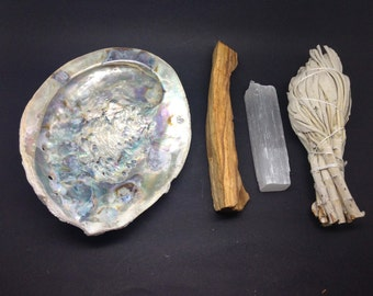 Smudge Kit -  Shell, Selenite, Palo Santo & White Sage -WSHAME01