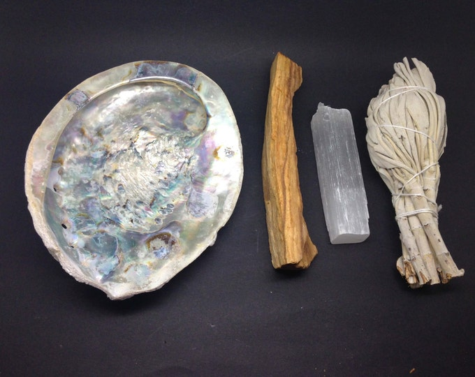 Smudge Kit -  Shell, Selenite, Palo Santo & White Sage -WSHAME01