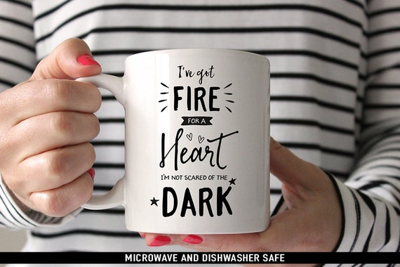 Coffee Mug Drag Me Down Coffee Mug - I've Got Fire For a Heart Im Not Scared of the Dark -  One Direction